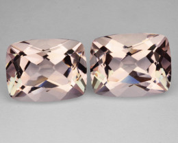 2.29 Cts Natural Light Pink Morganite 2 Pcs Cushion Cut Brazil