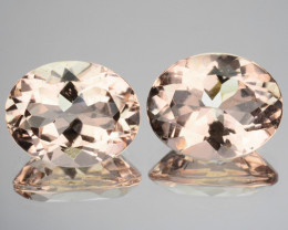 ~PAIR~ 4.77 Cts Natural Peach Pink Morganite Oval Cut Brazil
