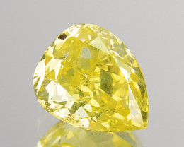 ~CERTIFIED~ Natural Diamond Fancy Greenish Yellow 0.360 Cts Pear Africa
