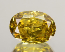 ~CERTIFIED~ Natural Diamond Fancy Greenish Yellow 0.335 Cts Oval Africa ~VS
