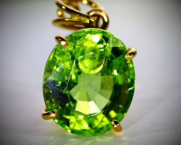 GIA Certified Tsavorite 6.47ct, 22ct Solid Yellow Gold Pendant