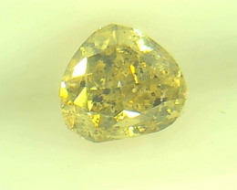 0.46ct Fancy Intense Yellow Green Diamond , 100% Natural Untreated