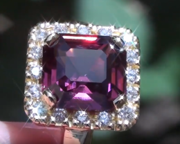 Red/Purple Burmese Spinel 4.06ct, with Natural Diamonds, 18ct Solid Gold Ri
