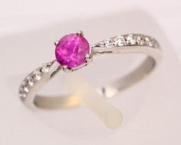 1.01g Mozambique Red Ruby 925 Sterling Silver Ring Sz3 1/2