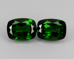 2.85 Cts Eye Catching Natural Rich Green Chrome Diopside Cushion Pair