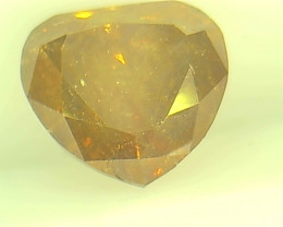 Certified 0.93ct Fancy Deep Orangy Brown  Diamond , 100% Natural Untreated