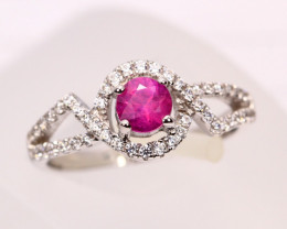 2.06g Mozambique Red Ruby 925 Sterling Silver Ring Sz6   A1605
