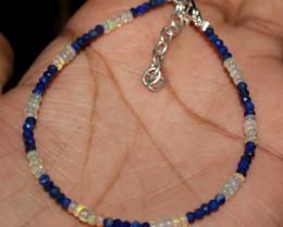 Natural Ethiopian Welo Fire Opal & Lapis Lazuli Beads Bracelet