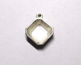 5.84cts Sterling Silver Bezel Square Emerald Cut Mount Uncleaned