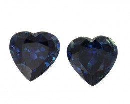 2.08cts Natural Australian Blue Sapphire Matching Heart Shapes