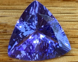 3.89 cts AAA Tanzanite - Brilliant Trillion - GIL Certified - Clean