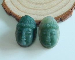 New Arrival Buddha Cabochon Pair Carved Moss Agate Gemstone Cabochon A990