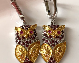 Glamorous Bejewelled Owl Earrings Ruby Garnet Gold Silver