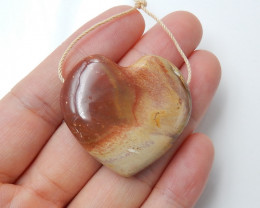 74.5cts natural wood fossil pendant ,heart pendant ,gemstone beads B09