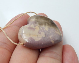 60.5cts natural wood fossil pendant ,heart pendant ,gemstone beads B11