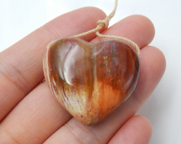 77cts natural wood fossil pendant ,heart pendant ,gemstone beads B07