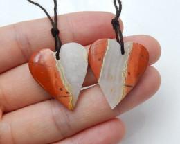 Red River Jasper Heart Earring Beads, stone for earrings making  H3234