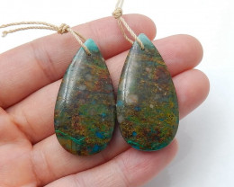 Natural Chrysocolla Teardrop Earring Beads, stone for earrings making H3232