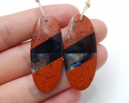 Red Jasper, Obsidian and Labradorite Intarsia Gemstone Earrings H3227