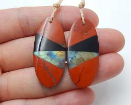 Red Jasper, Obsidian and Labradorite Intarsia Gemstone Earrings H3226