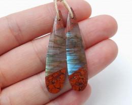 Red Jasper and Labradorite Intarsia Gemstone Earring Bead H3224