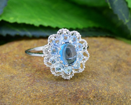 Natural Blue Topaz 925 Sterling Silver Ring SSR0478