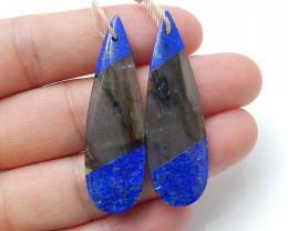 Lapis Lazuli and Labradorite Intarsia Gemstone Earring Beads H3220