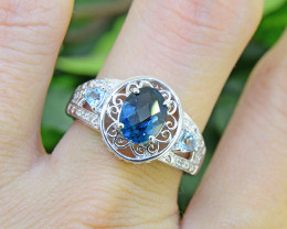 Natural Blue Topaz 925 Sterling Silver Ring SSR0481