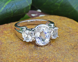 Natural White Topaz 925 Sterling Silver Ring SSR0021