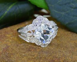 Natural White Topaz & Diamond 925 Sterling Silver Ring SSR0001