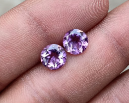 TOP QUALITY AMETHYST  PAIR 7 mm Natural+Untreated VA2401
