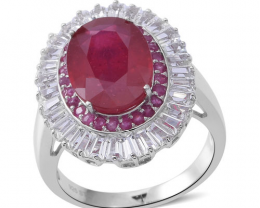 Ruby & White Topaz Halo Ring in Rhodium Plated Sterling Silver