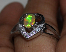 Natural Ethiopian Welo Fire Opal 925 Silver Ring Size (8 US) 145