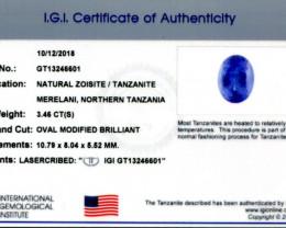 3 46 ct Oval Tanzanite IGI Certified With Laser Inscription