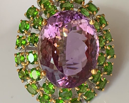 'Saskia' A Huge Cocktail Ring of Amethyst and Chrome Diopside gems