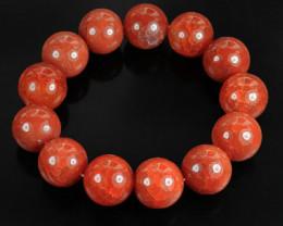 339 Ct Brazilian Fire Agate Bead Bracelet 15mm Large Beads