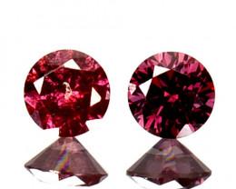 ~PAIR~ 0.12 Cts Natural Purplish Pink Diamond Round Africa