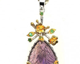 ⭐ Natural Ametrine Carved Crystal Emerald pendant - .925 Sterling Silver
