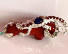 Lizard on Coral Branch - Emerald, Kyanite, Garnet Sterling Silver Gold Broo