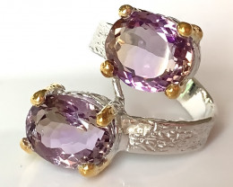 ⭐'Tango' Amethyst Gold and Silver Ring Size 10.5