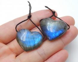 New Labradorite Earring pairs , Matching heart pairs , Healing Stone B29