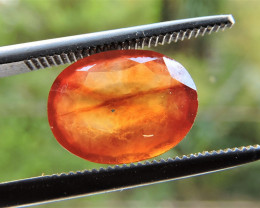 3.60ct ORISSA HESSONITE GARNET OVAL FACETED HONEY ORANGE GEMSTONE