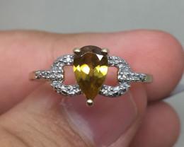 (B2)$1850 Rare Nat. 0.92ct Morafeno Sphere & Diamond Ring 10K