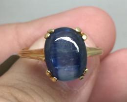 (B3) Cert. $1400 Nat 2.38cts.  Kyanite Ring 10K YG 2.41gr