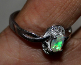Natural Ethiopian Welo Fire Opal 925 Silver Ring Size (8 US) 144