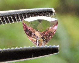 0.25ct TRILLION FACETED PASTEL PINK TOURMALINE GEMSTONE FROM BRAZIL