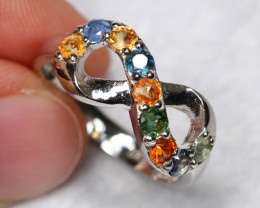 13.30cts Multicolour Sapphire 925 Sterling Silver Ring US 7.5