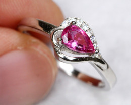 8.01cts Natural Red Ruby 925 Sterling Silver Ring US 6