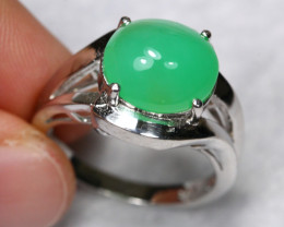 26.79cts Natural Aventirine 925 Sterling Silver Ring US 7.25