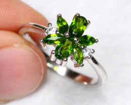 11.22cts Natural Chrome Diopside 925 Sterling Silver Ring US 7
